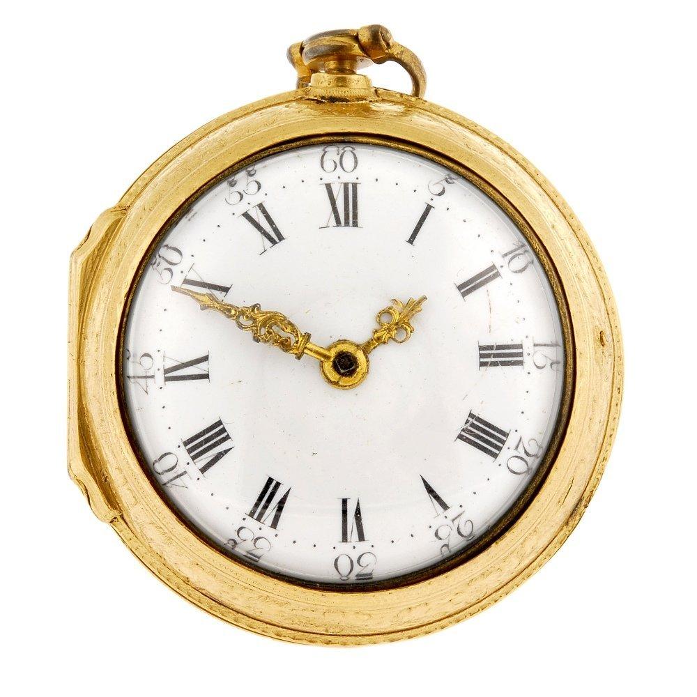 A mid 18th century gilt key wind pair case pocket watch