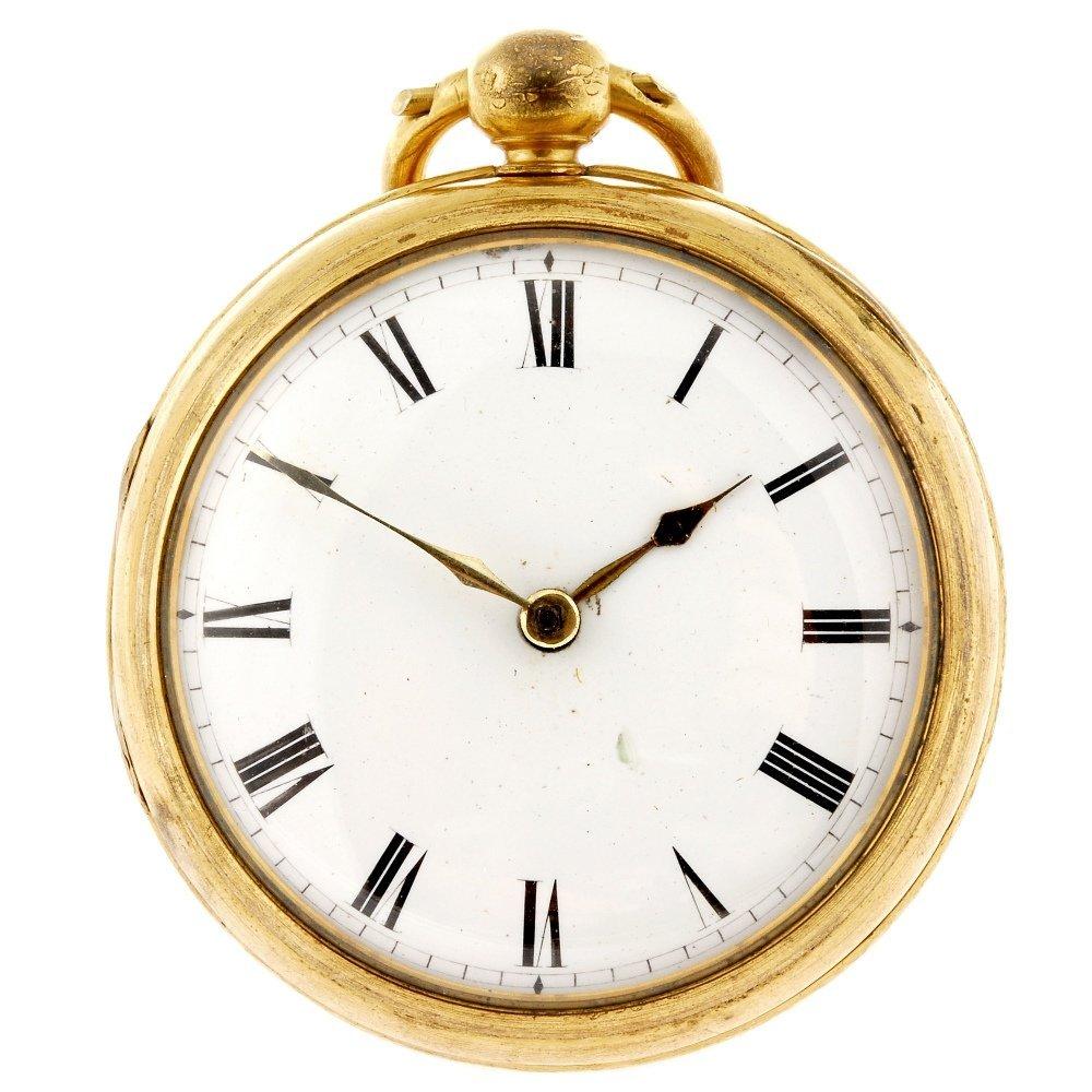 A gilt key wind open face repousse pocket watch by John