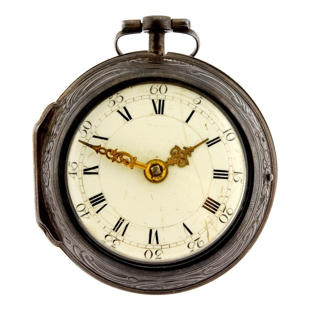 A silver key wind repousse pair case pocket watch by Ro