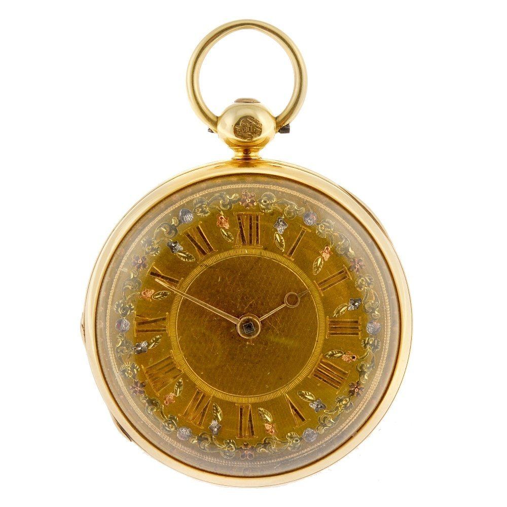 An 18ct gold key wind open face pocket watch by Charles
