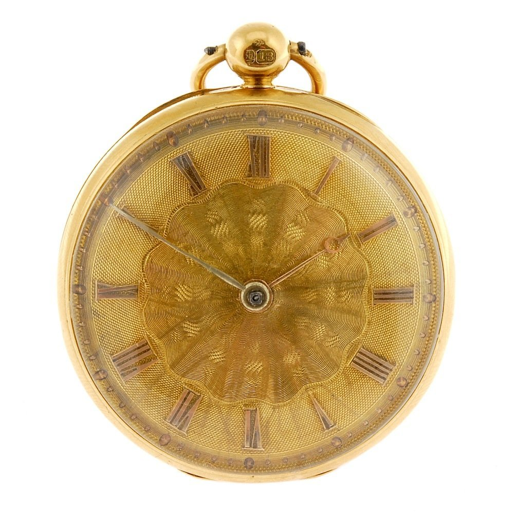 A George IV 18ct gold key wind open face pocket watch b