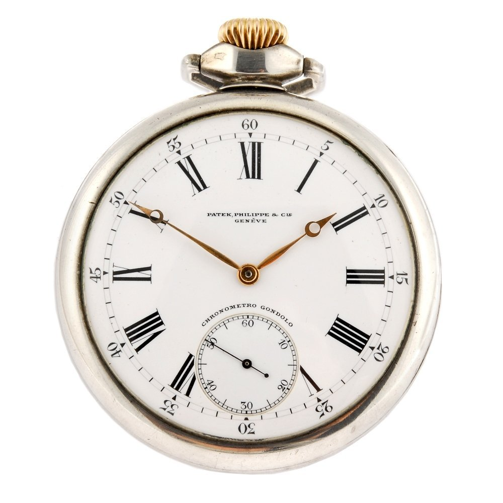 A continental keyless wind open face pocket watch signe