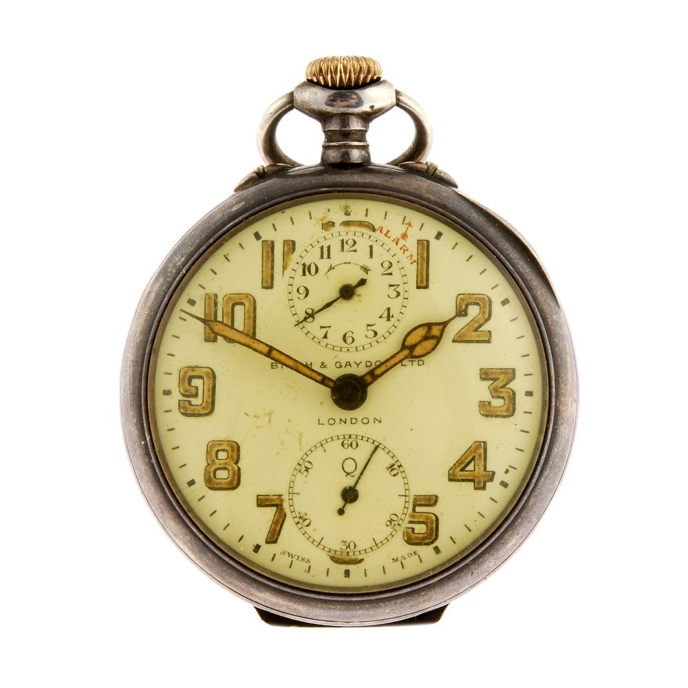 A group of three silver pocket watches together with a