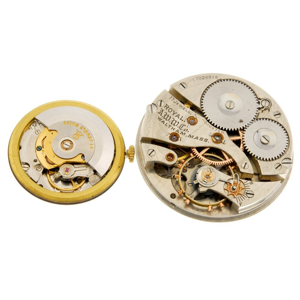 A Garrard watch movement with a Waltham pocket watch