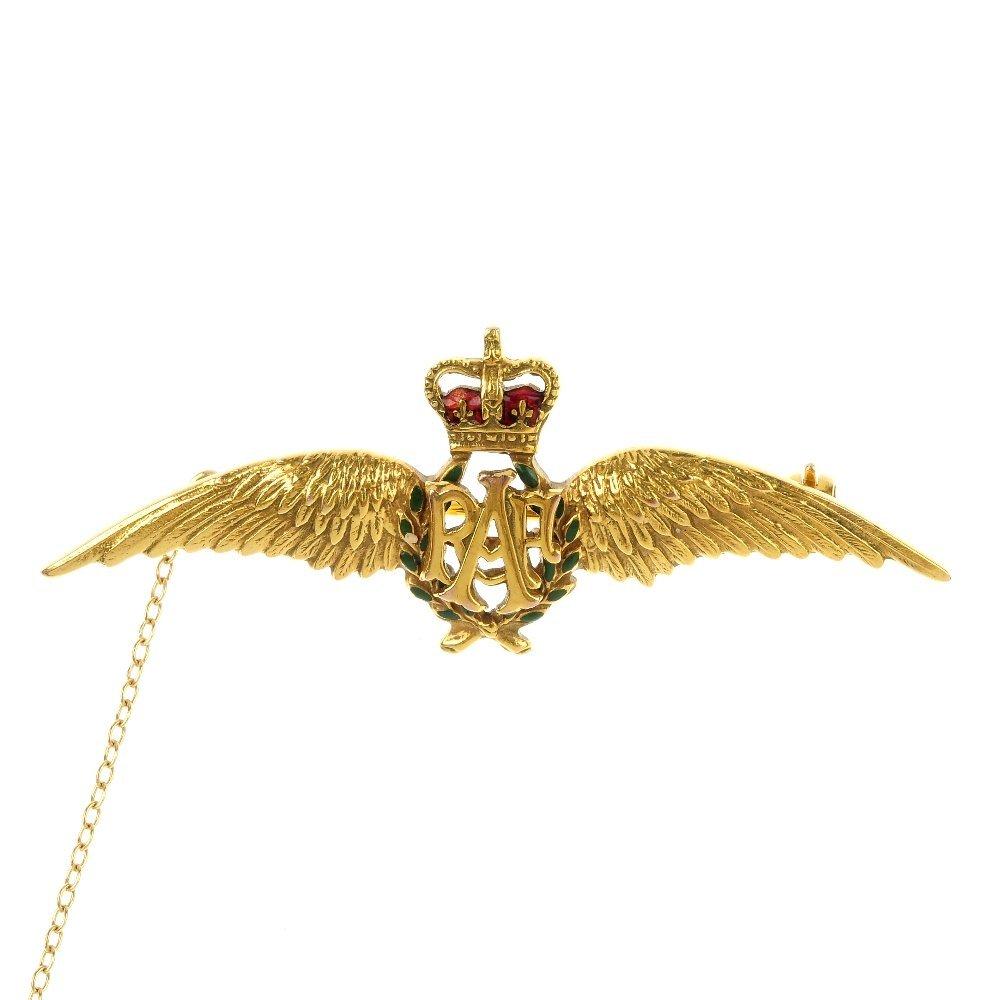 A 9ct gold enamel RAF brooch.