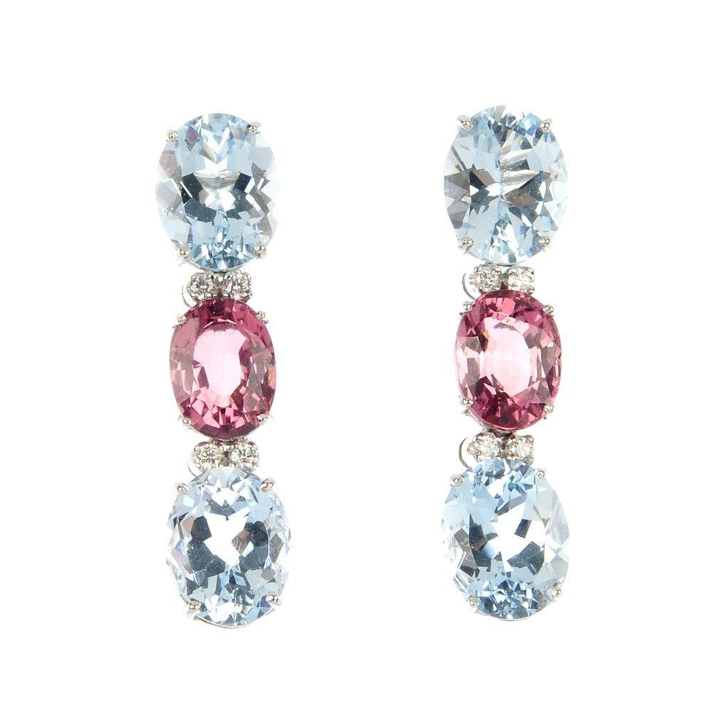 A pair of aquamarine, tourmaline and diamond ear pendan