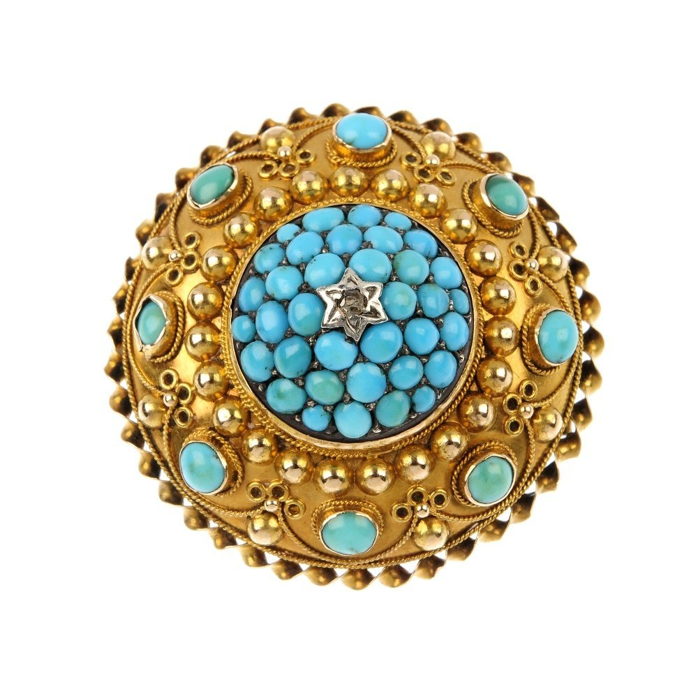 A late Victorian turquoise and diamond brooch, circa 18