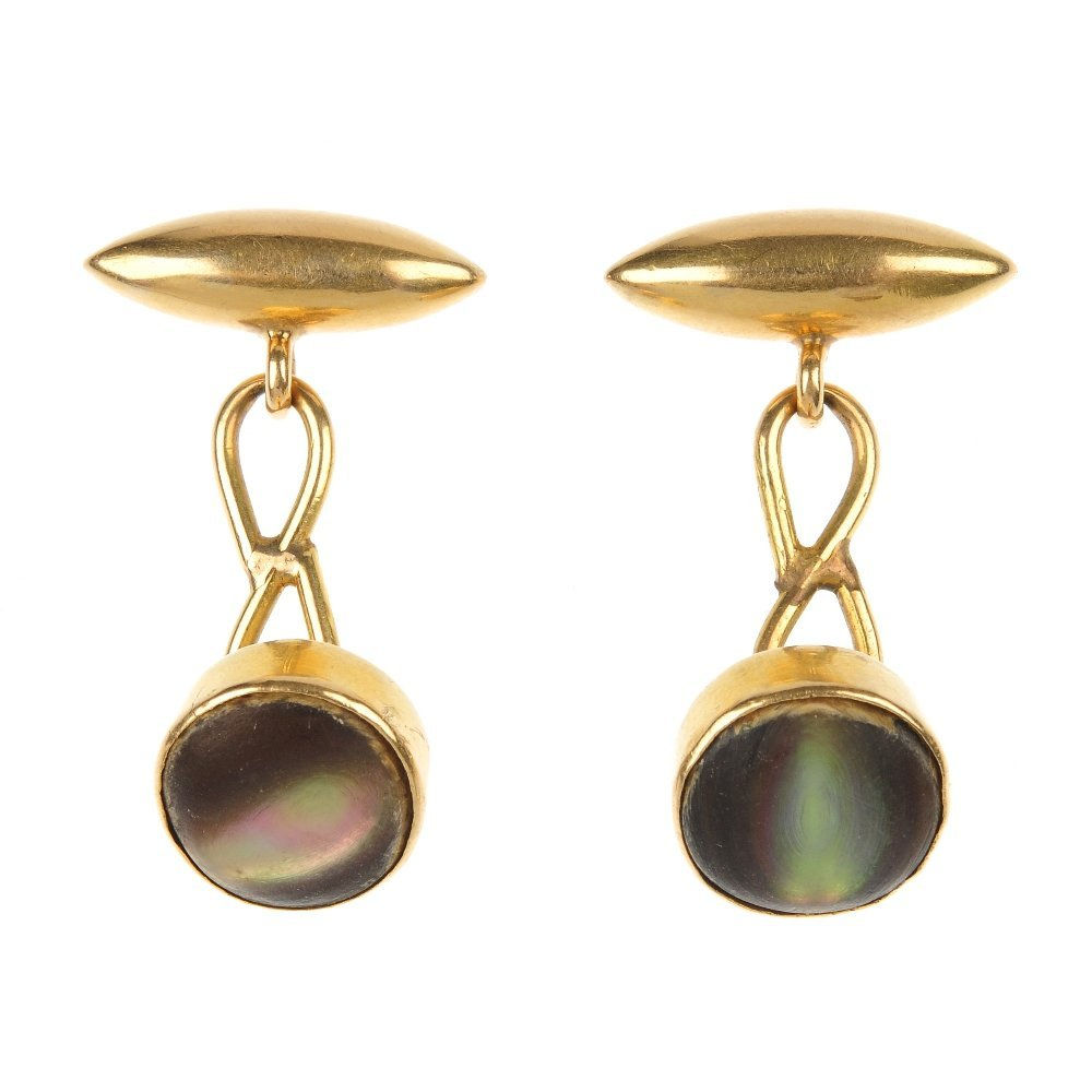 A pair of mid 20th century 15ct gold abalone shell cuff