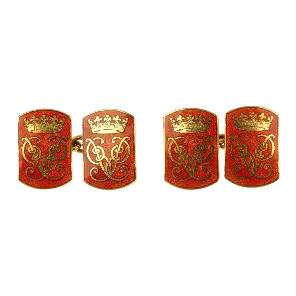 A pair of 1950s Royal presentation 9ct gold enamel cuff