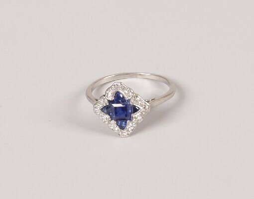 16: Art Deco shaped square cluster ring with