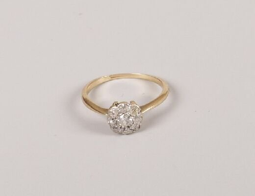 19: Nine stone old cut all diamond cluster ri