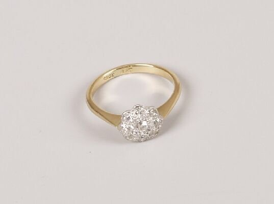 21: 18ct gold and platinum mounted nine stone