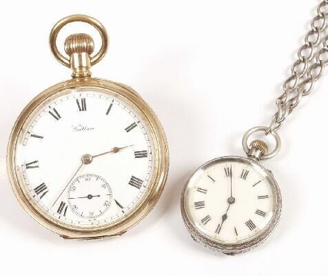 1253: Swiss silver open faced pocket watch, w