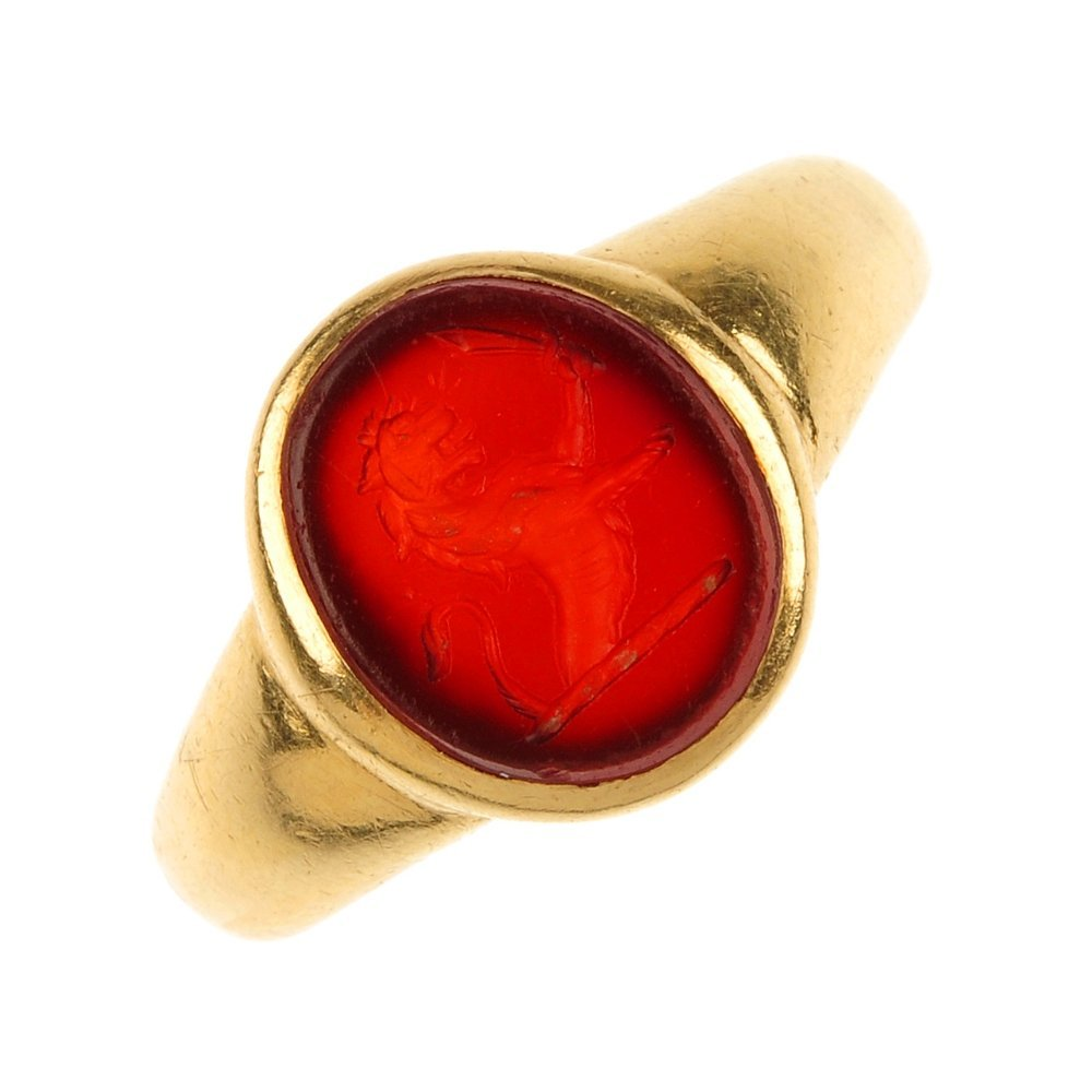A late 19th century 18ct gold carnelian seal ring.