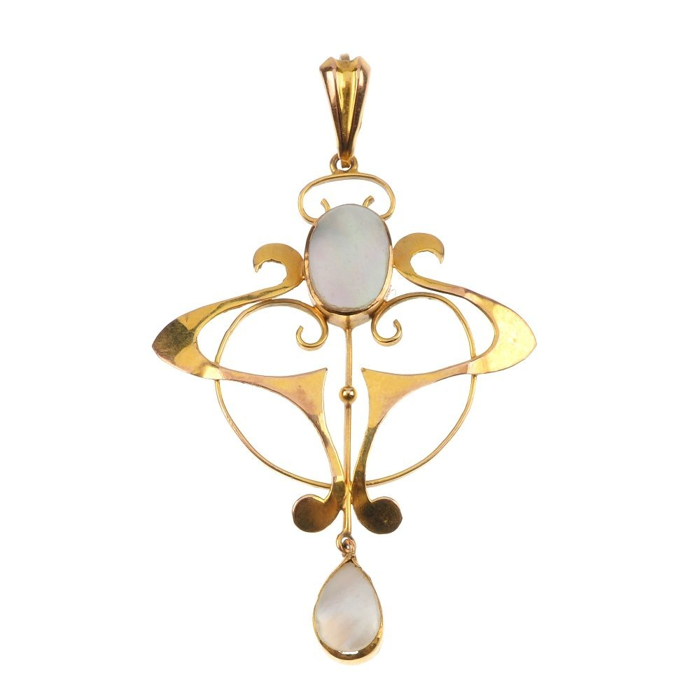 An early 20th century 9ct gold mother-of-pearl pendant.
