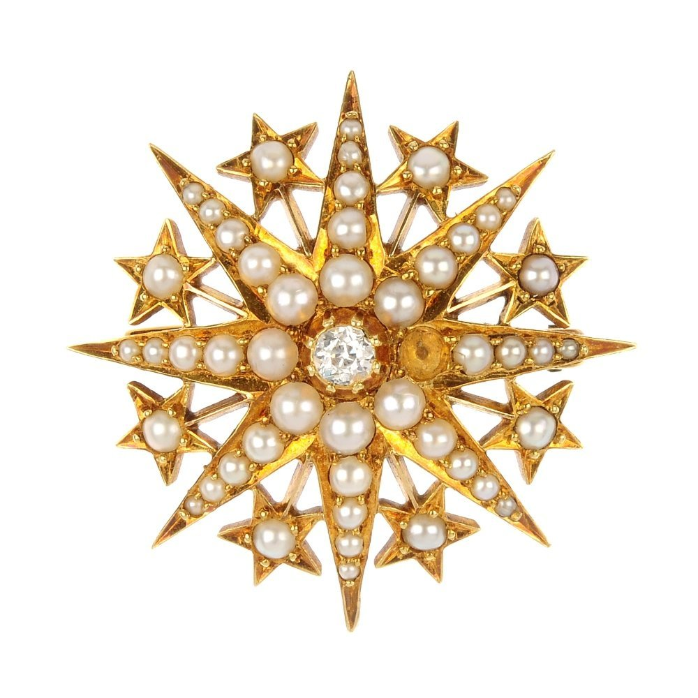 A late Victorian 18ct gold split pearl and diamond star