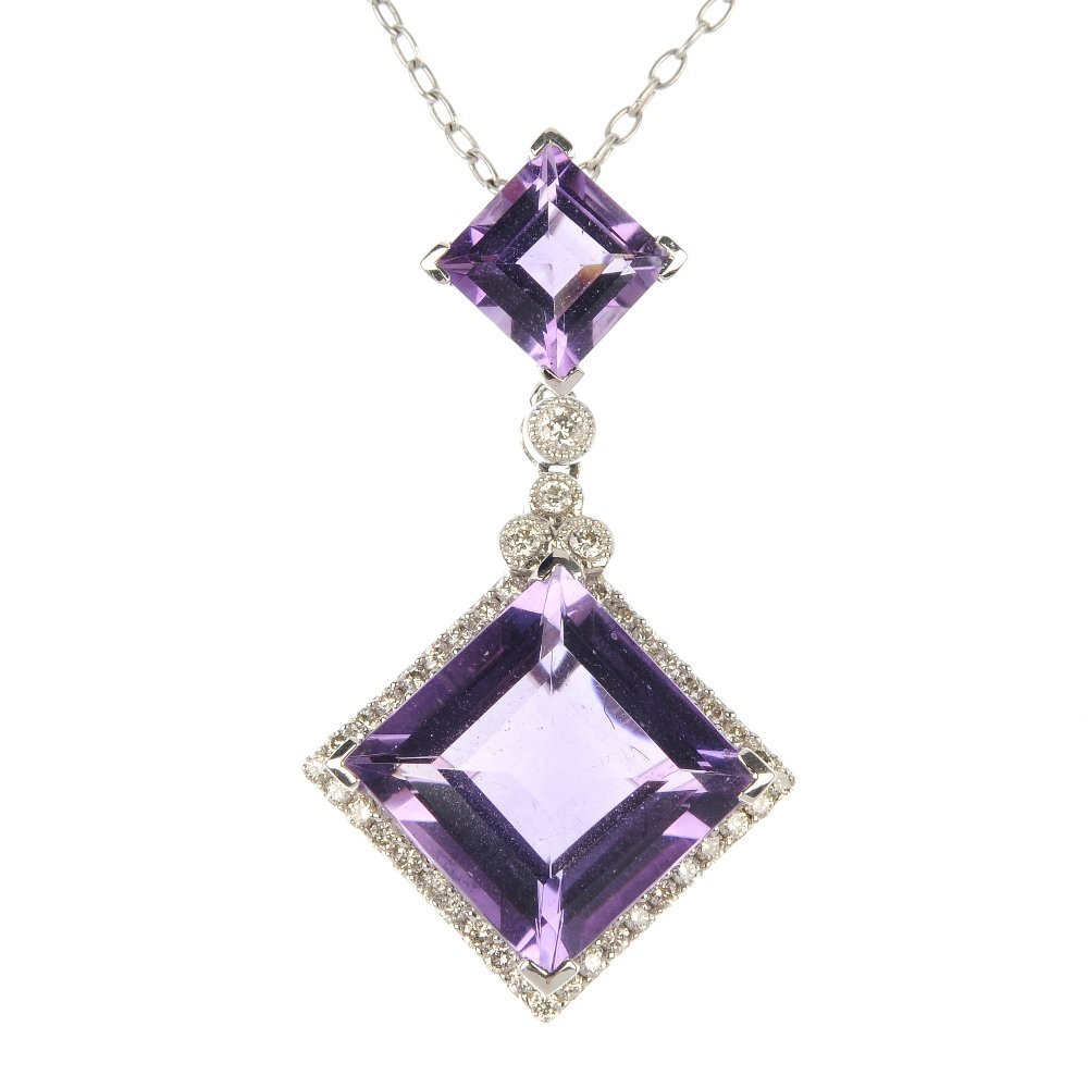 An amethyst and diamond necklace.