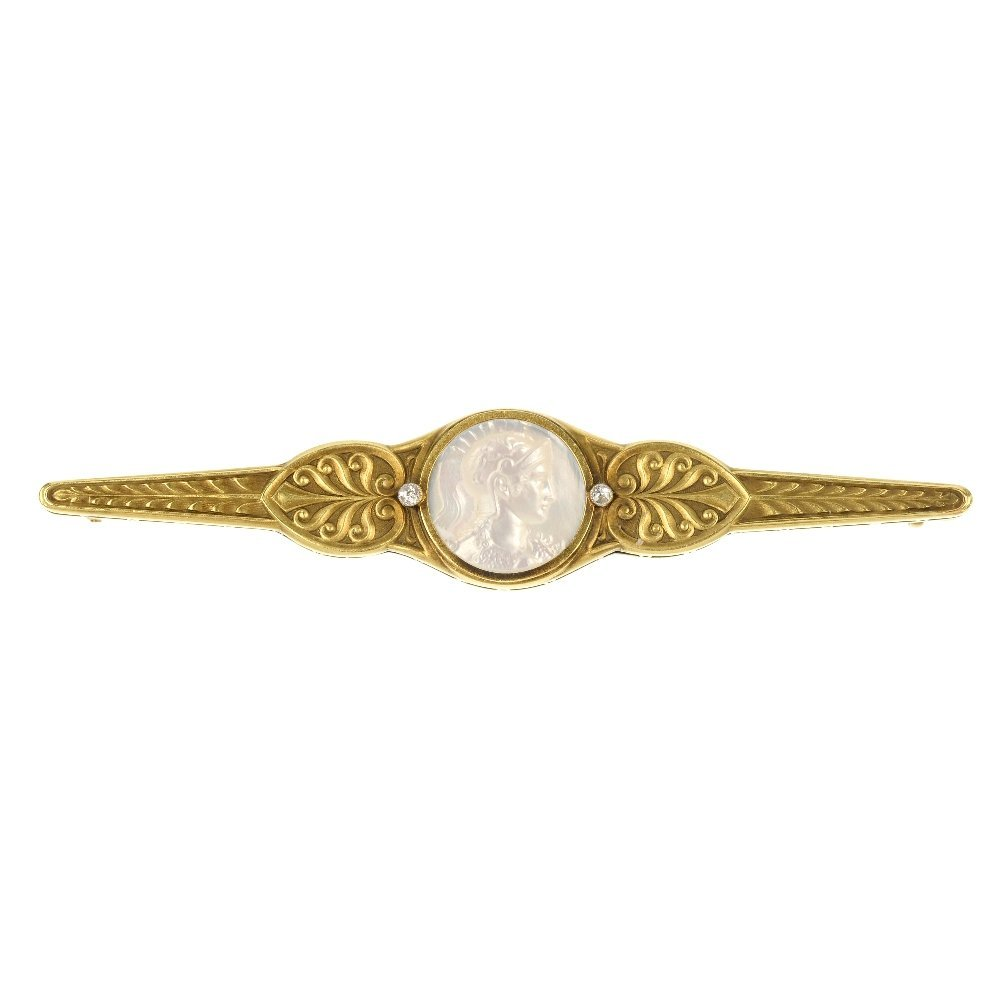A mid 20th century mother-of-pearl cameo and diamond