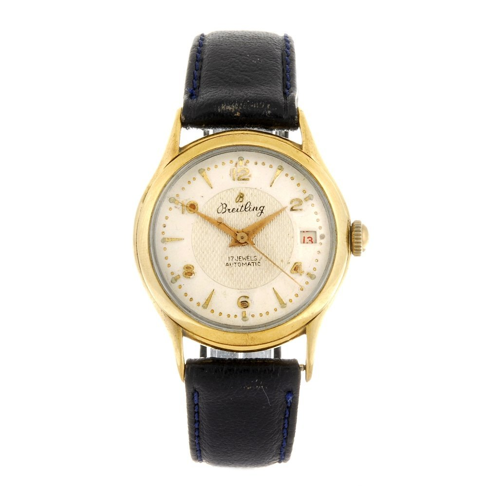 A gold plated automatic gentleman's Breitling wrist
