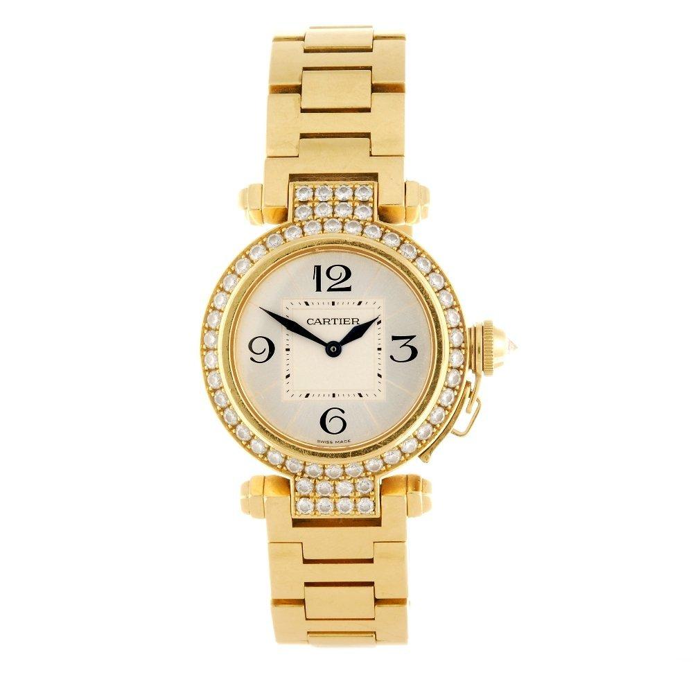 (531238-1-A) An 18k gold quartz Cartier Pasha bracelet