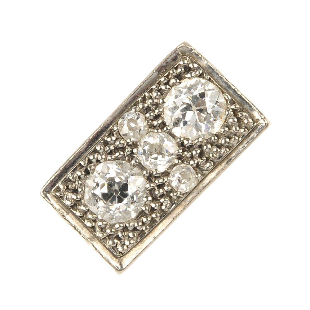 A diamond panel ring.