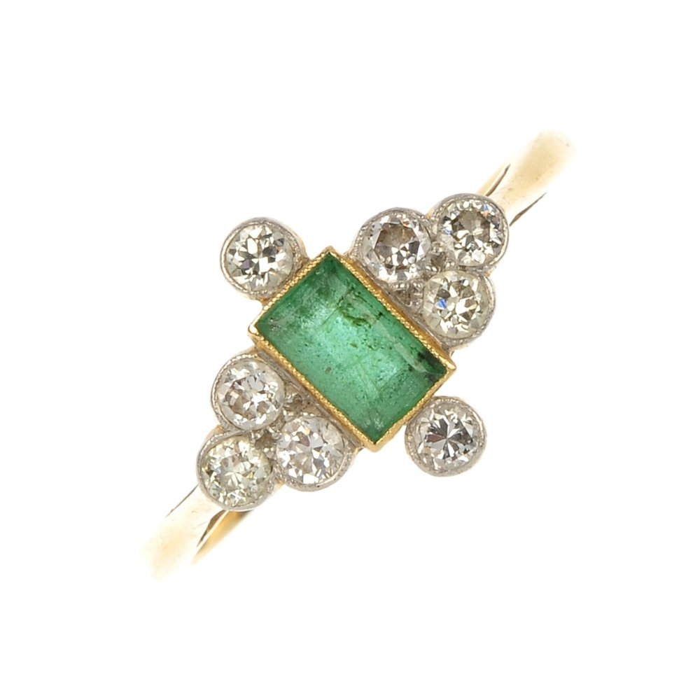 A mid 20th century 18ct gold emerald and diamond dress