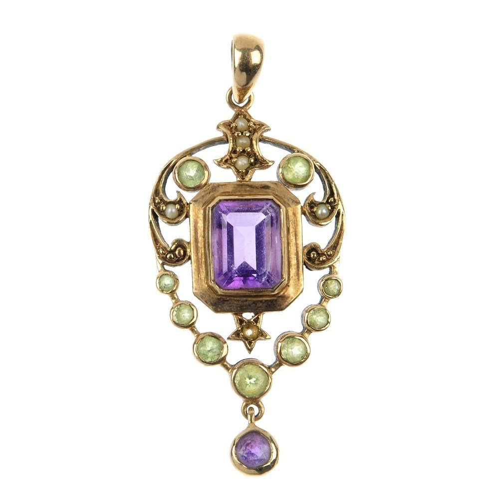 A 9ct gold gem-set pendant and a mid 20th century split