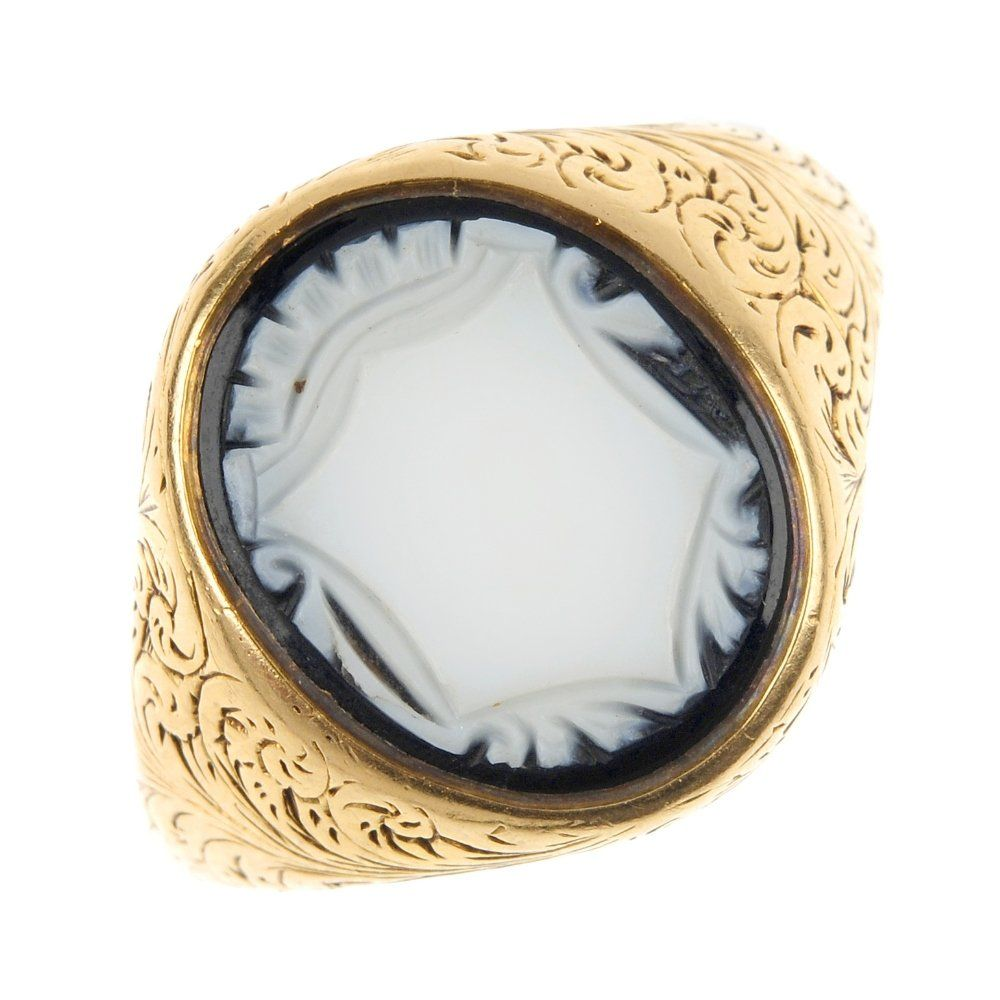 A late Victorian 18ct gold agate seal ring, circa 1890.