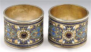 A pair of early 20th century Russian silver and enamel