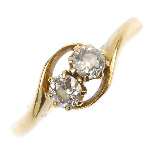 An early 20th century 18ct gold diamond two-stone ring