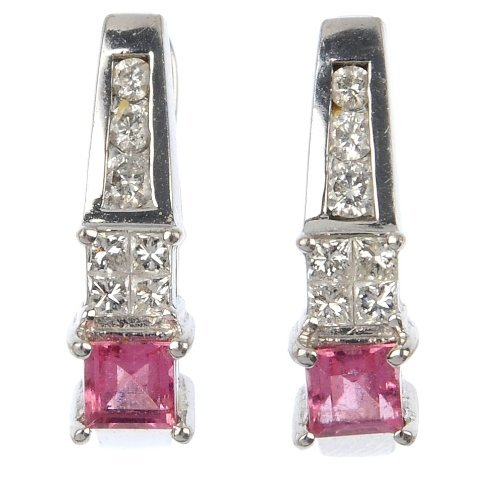 A pair of 18ct gold tourmaline and diamond earrings.