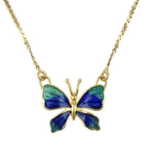 An enamel butterfly pendant and a gem-set pendant.