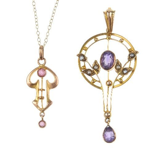 Two early 20th century 9ct gold gem-set pendants.