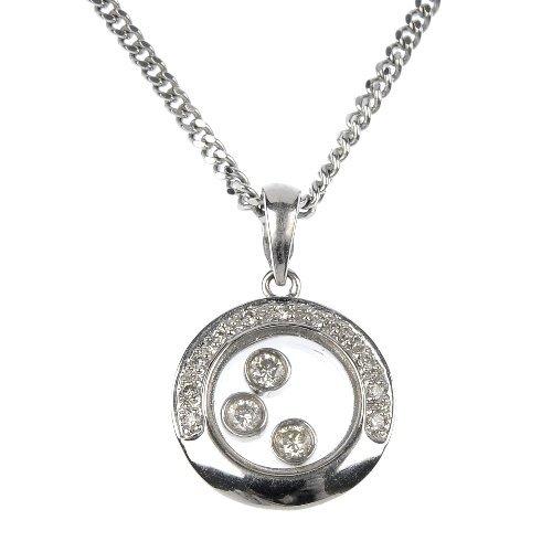 A 9ct gold diamond pendant.
