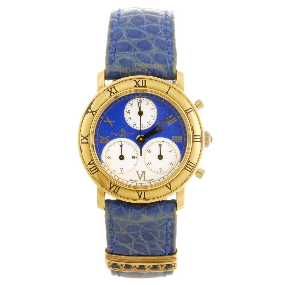 An 18k gold quartz lady's Baume & Mercier wrist watch.