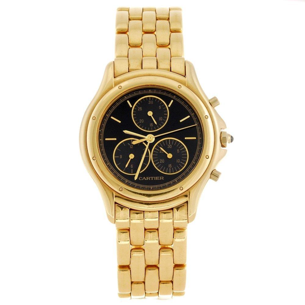 (133102773) A 18k gold quartz chronograph Cartier Couga