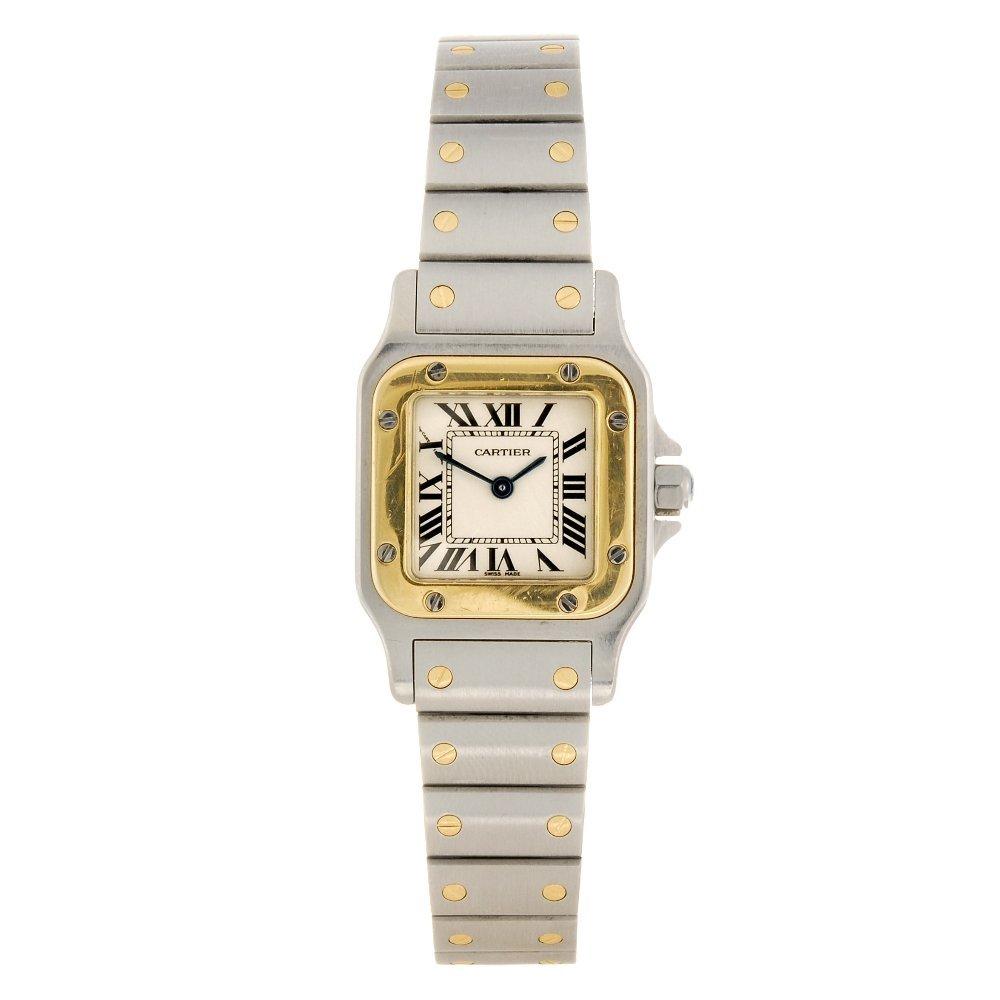 (507026674) A bi-metal quartz Cartier Santos bracelet w