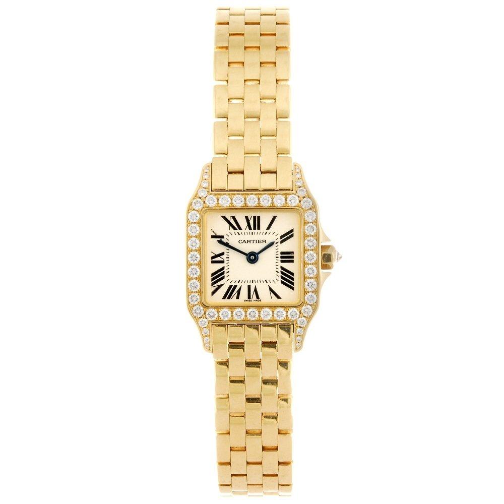(605013496) An 18k gold quartz Cartier Santos Demoisell