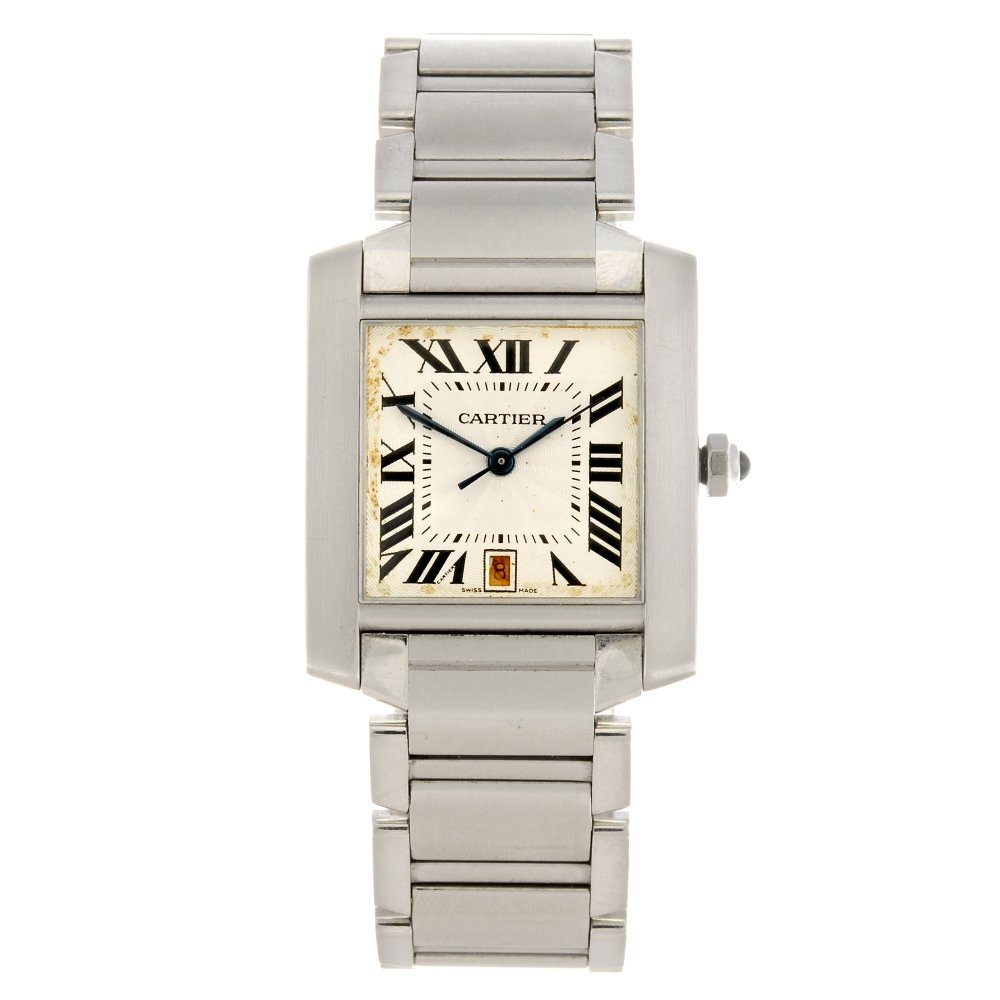 (94703) A stainless steel automatic Cartier Tank Fran‡a
