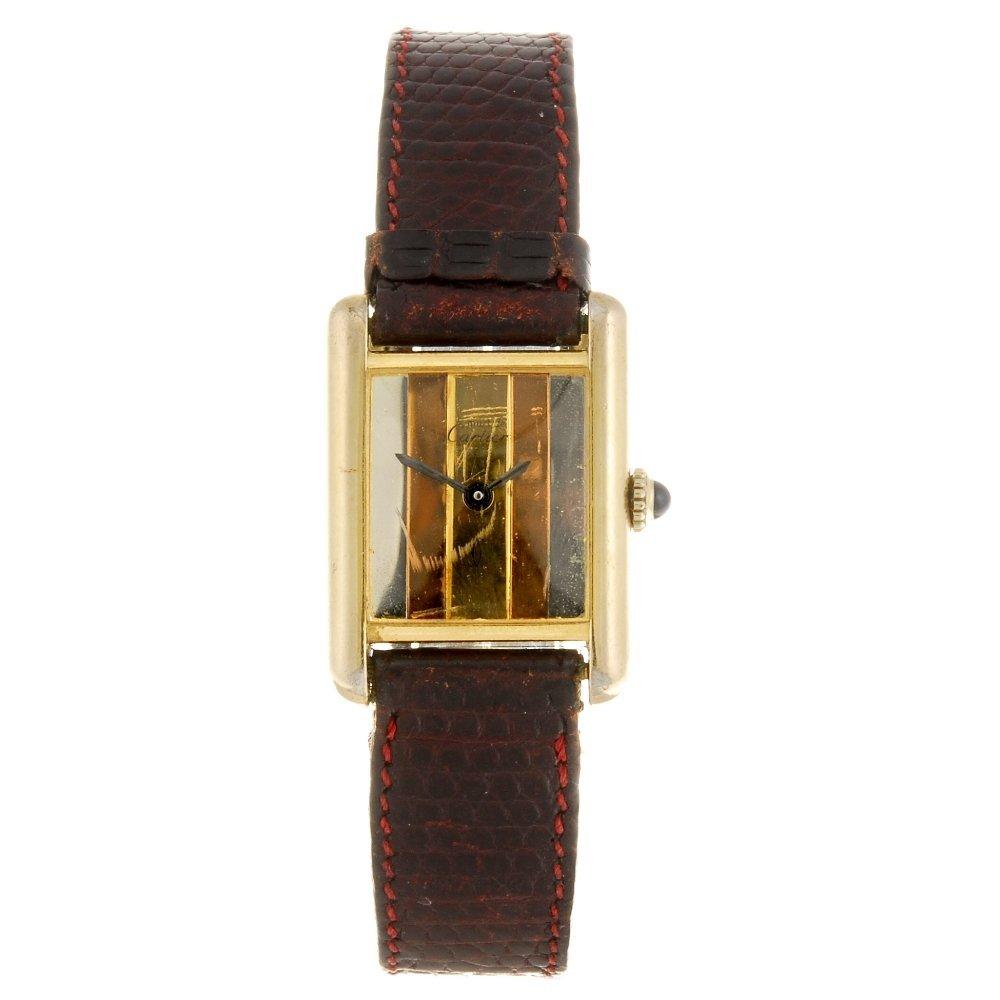 A gilt manual wind Cartier Must de Cartier Tank wrist w