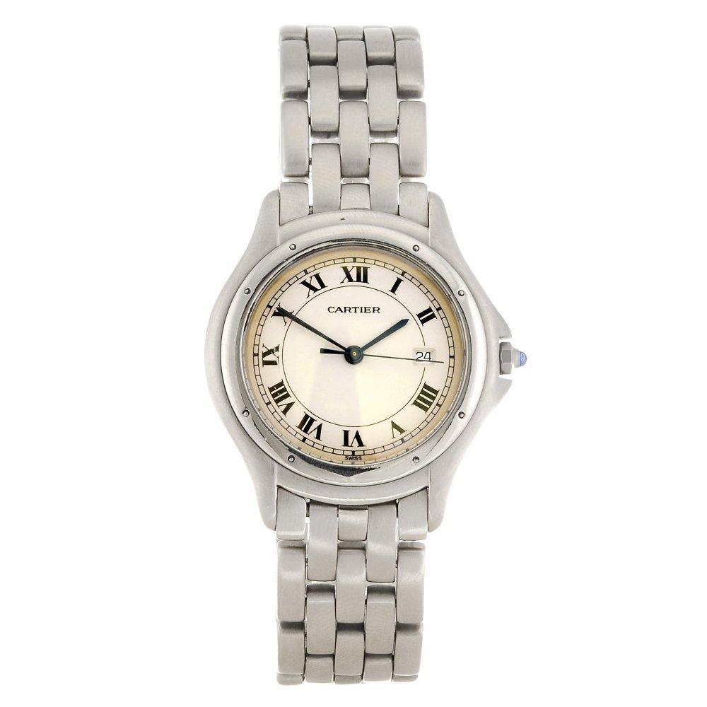 A stainless steel quartz Cartier Cougar bracelet watch.