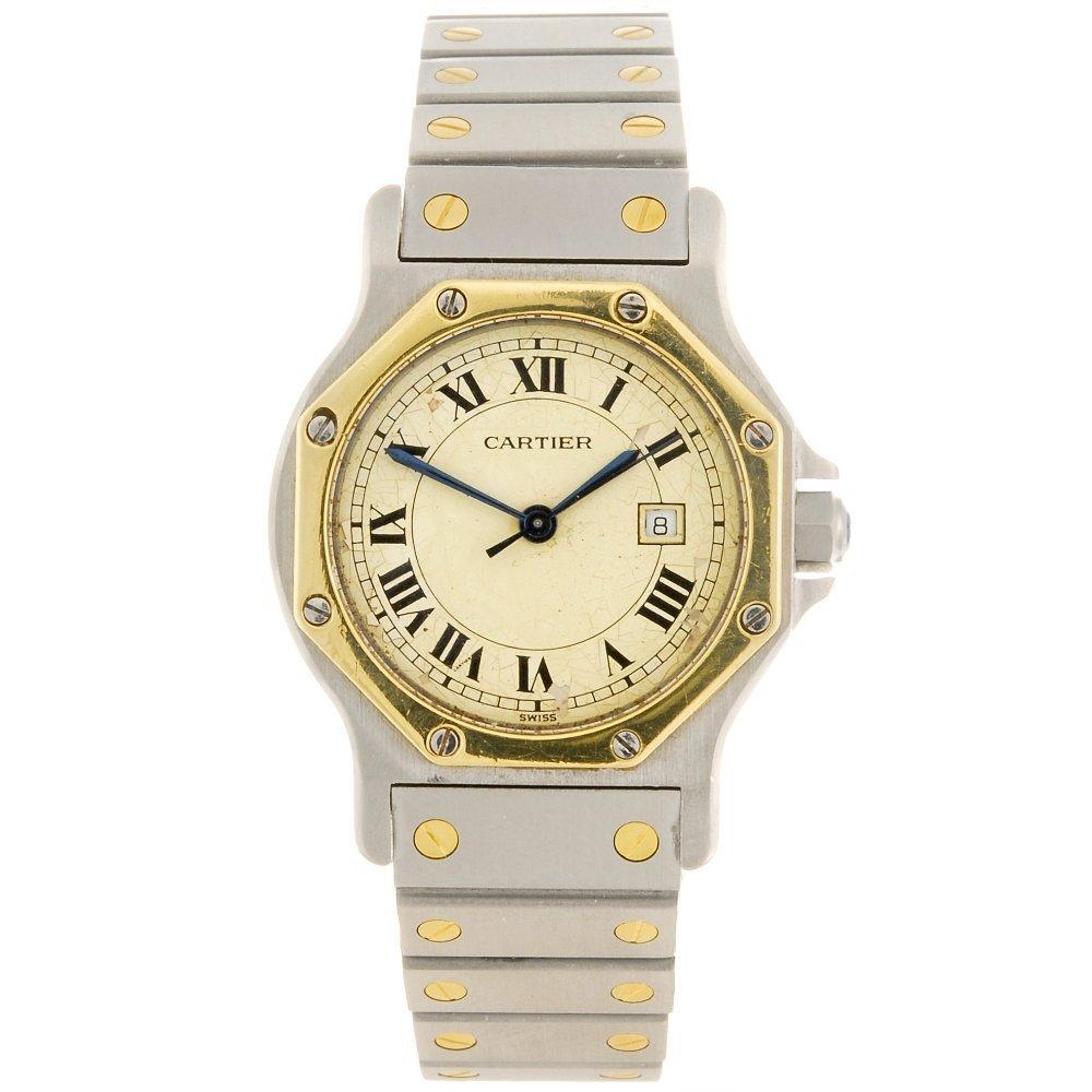 A bi-metal automatic Cartier Santos bracelet watch.