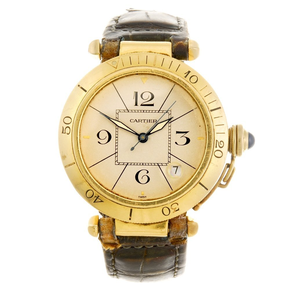 An 18k gold automatic Cartier Pasha wrist watch.