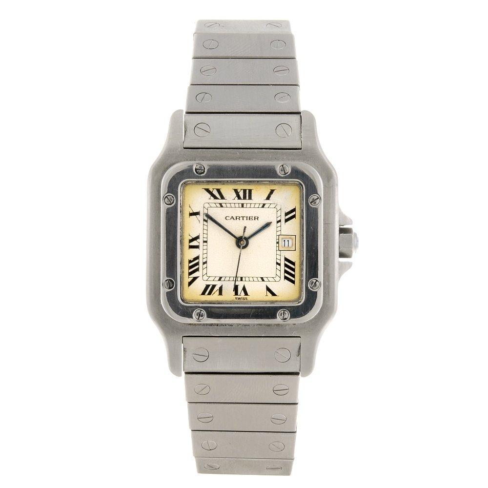 A stainless steel automatic Cartier Santos bracelet wat