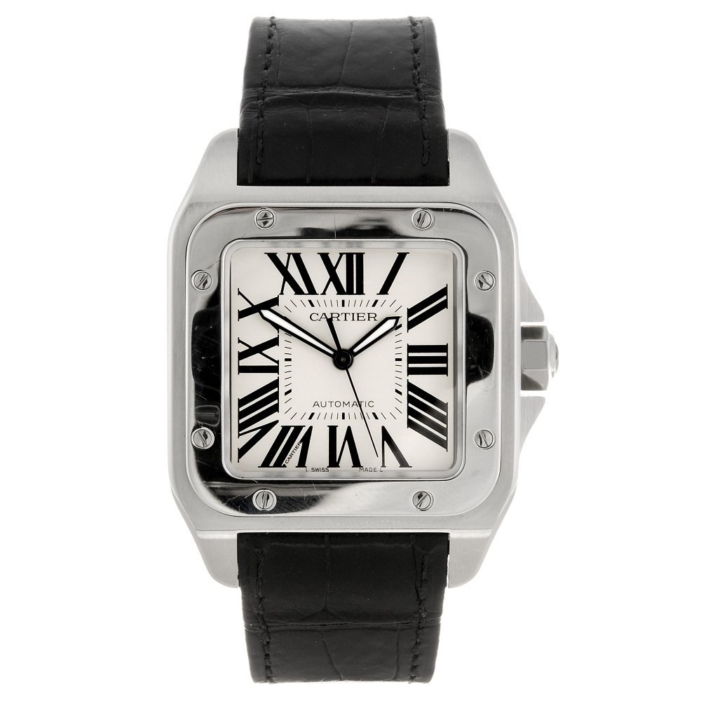 (956000813) A stainless steel automatic Cartier Santos
