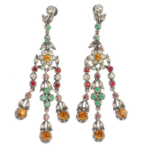A pair of mid 20th century paste floral ear pendants.