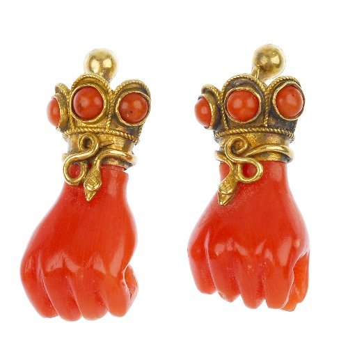 A pair of mid Victorian coral earrings.