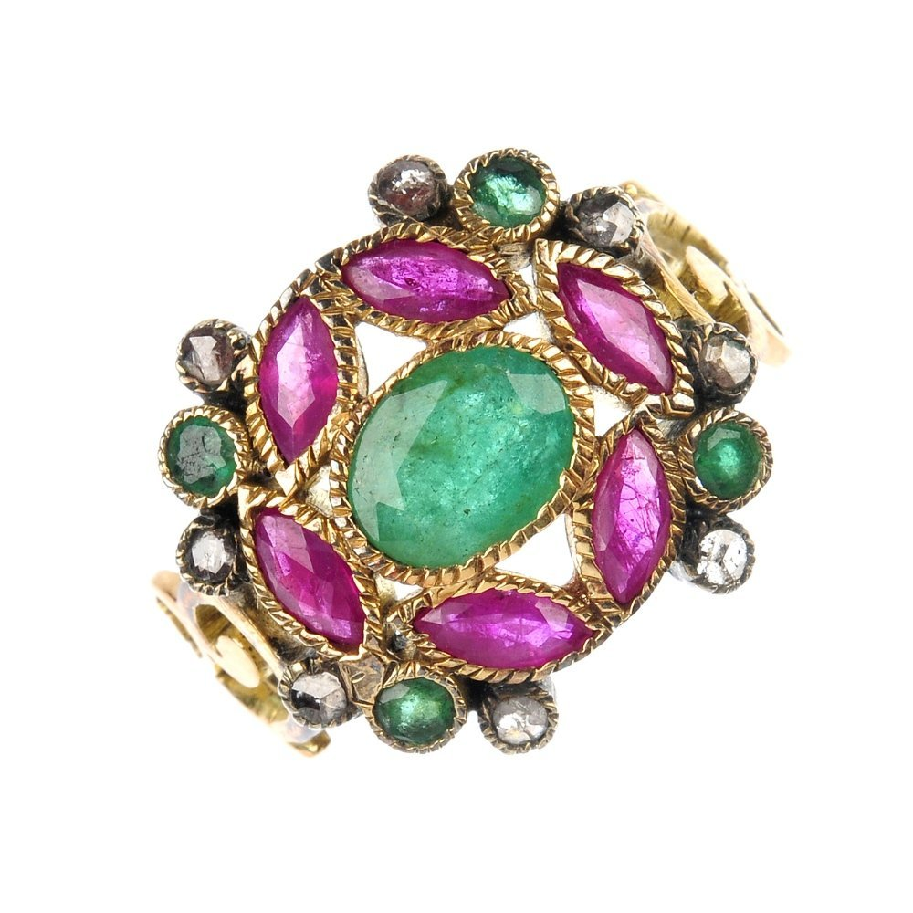 An emerald, ruby and diamond cluster ring.