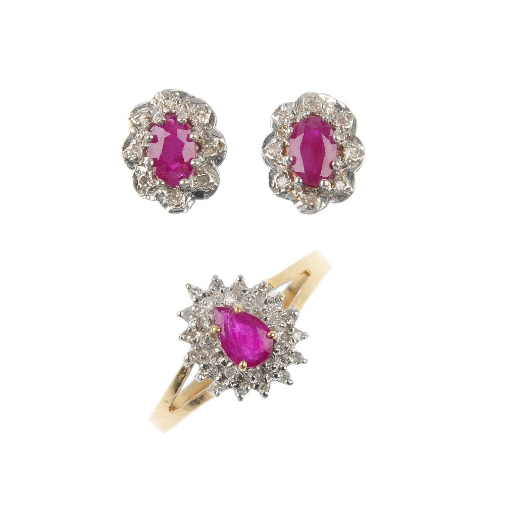 A group of 9ct gold ruby and diamond jewellery.