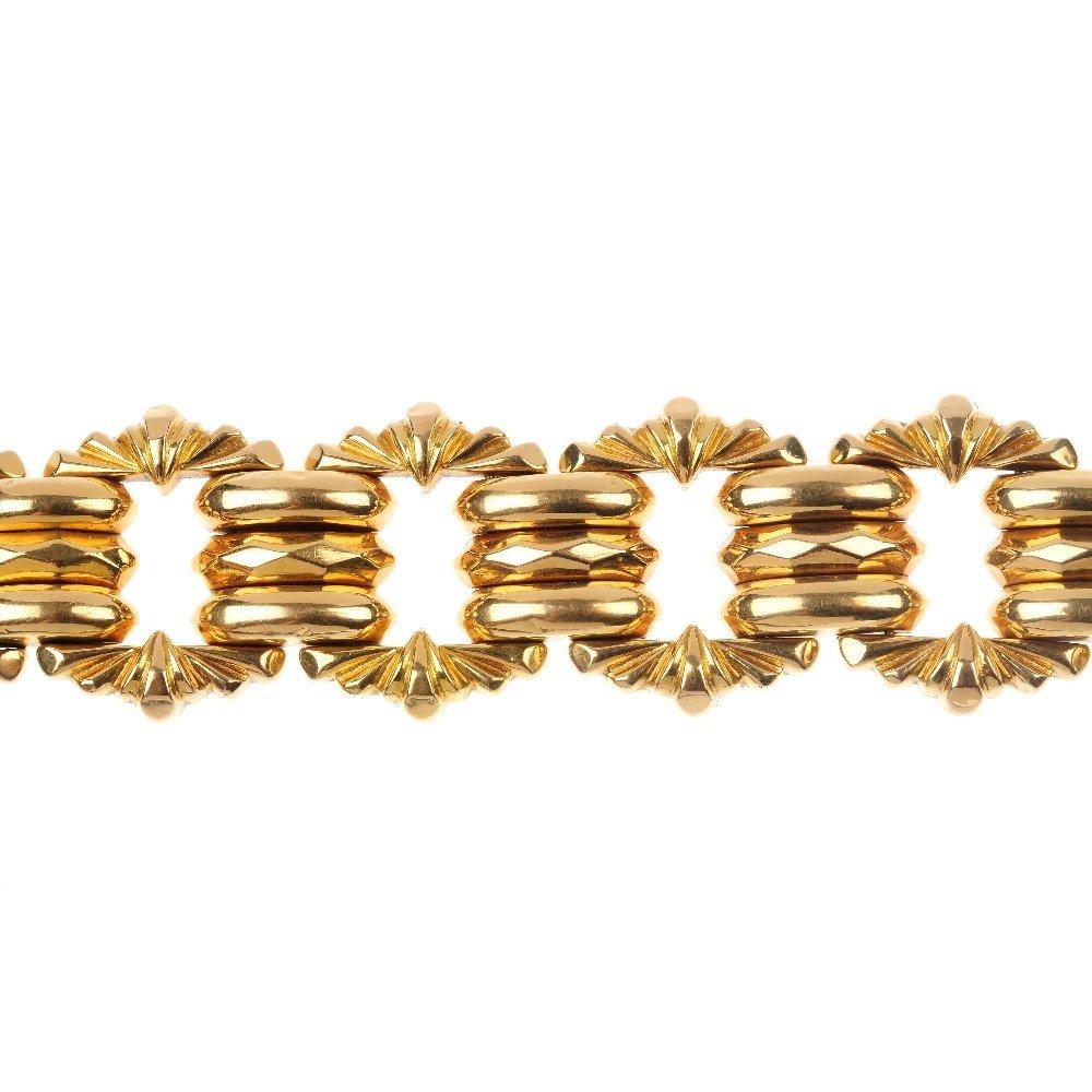 A fancy-link bracelet.